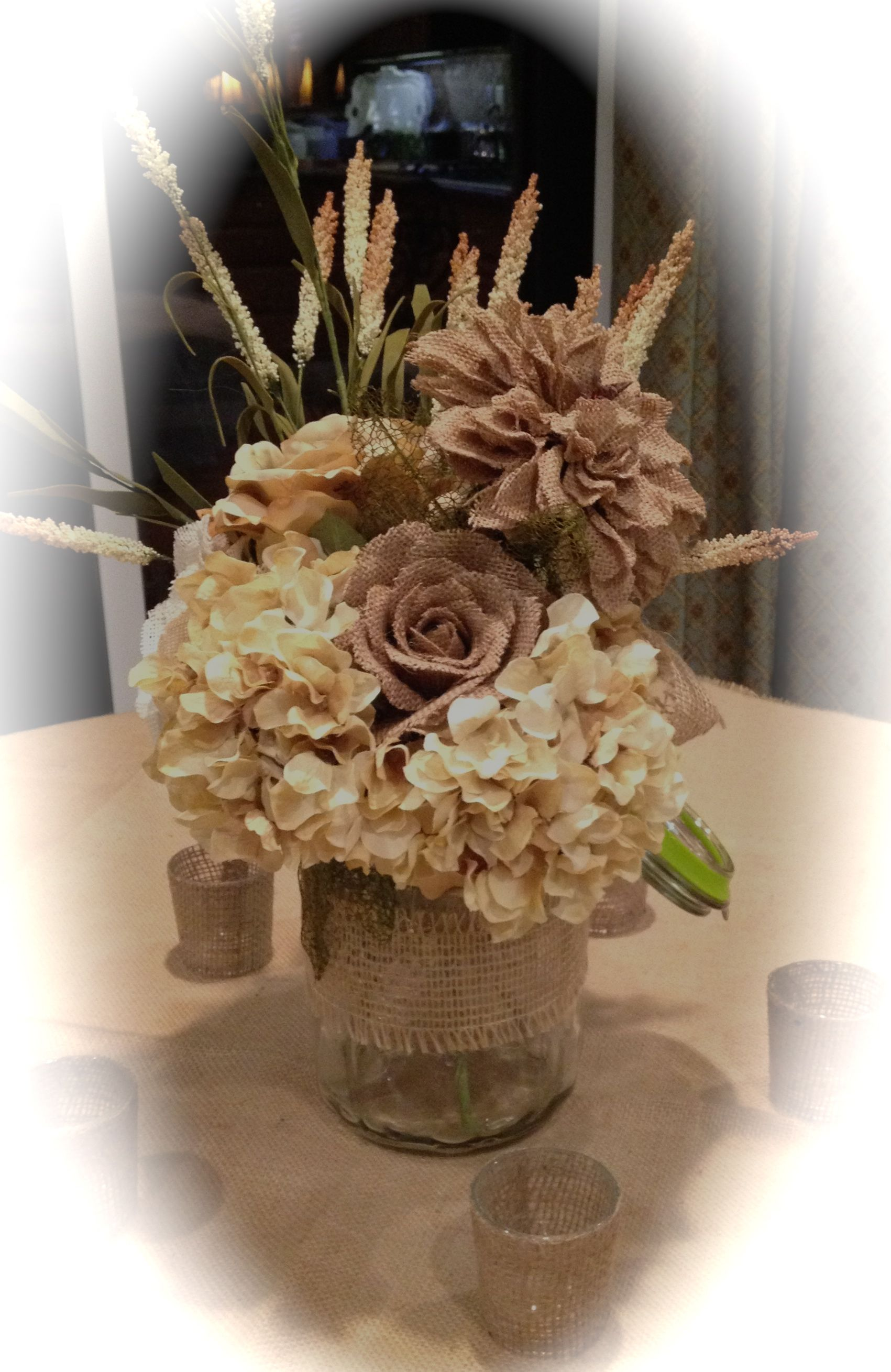 Image result for wedding centerpieces with burlap