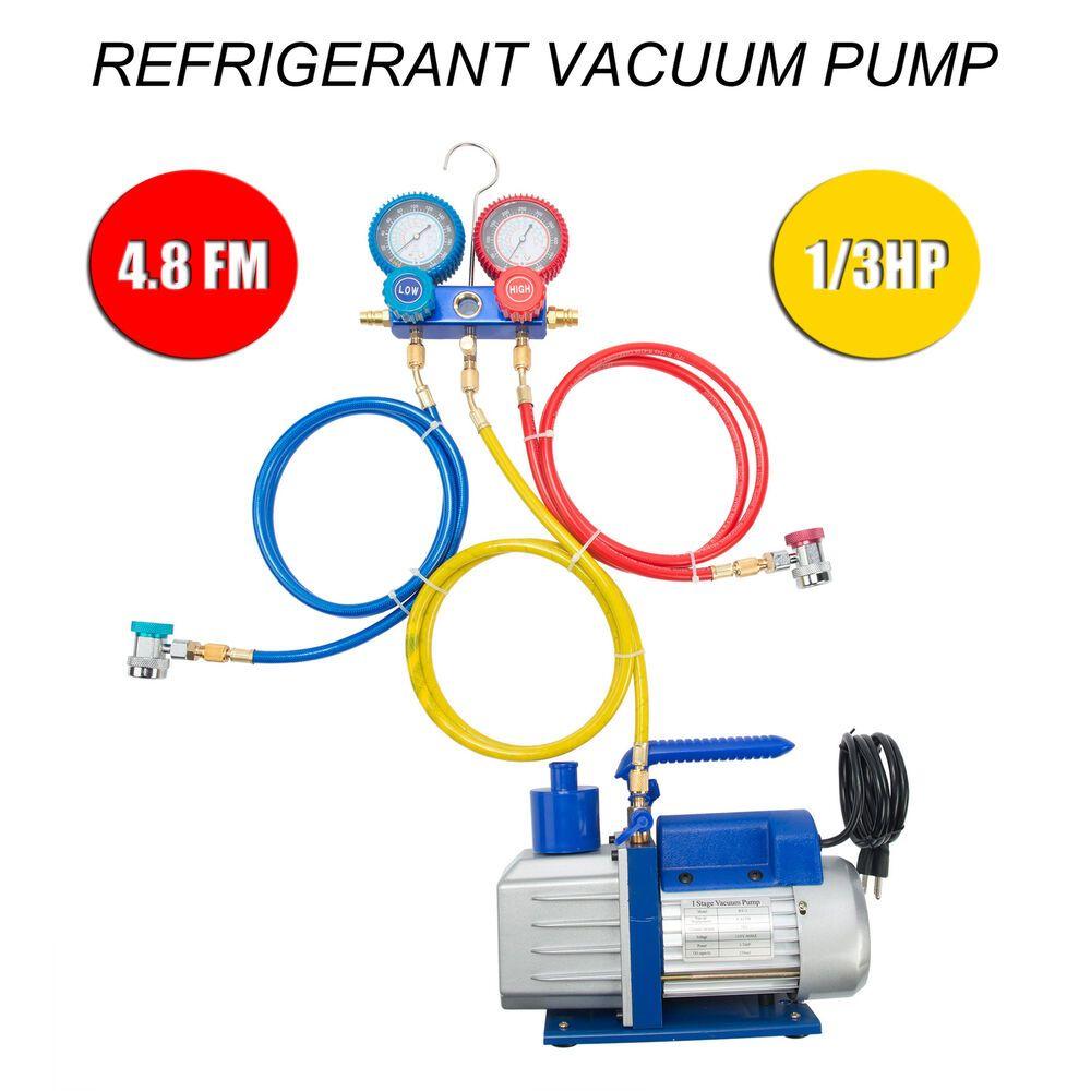 4.8 CFM Vacuum Pump HVAC A//C Refrigerant W//4 Valve Manifold Gauge 1 Top