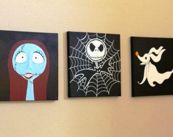 Set Of 3 Three Hand Painted Canvas Art Sally Jack Skellington Zero