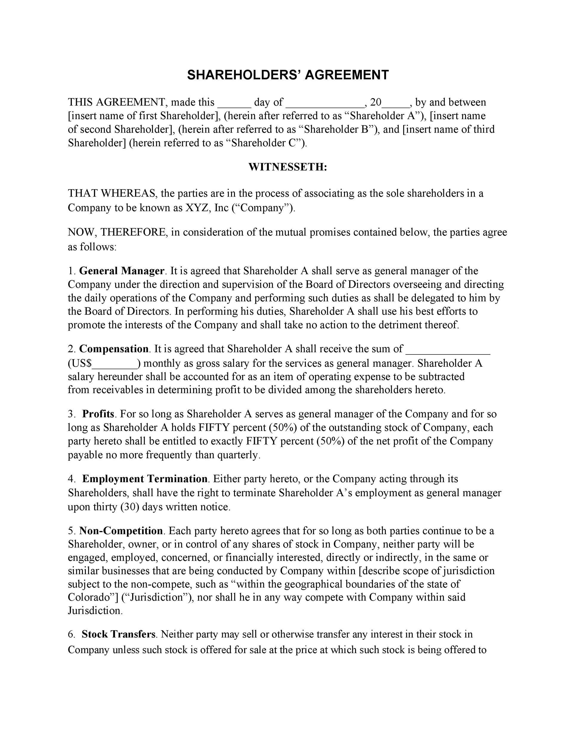 Shareholders Agreement Template Free Free Download Template Free Templates Agreement