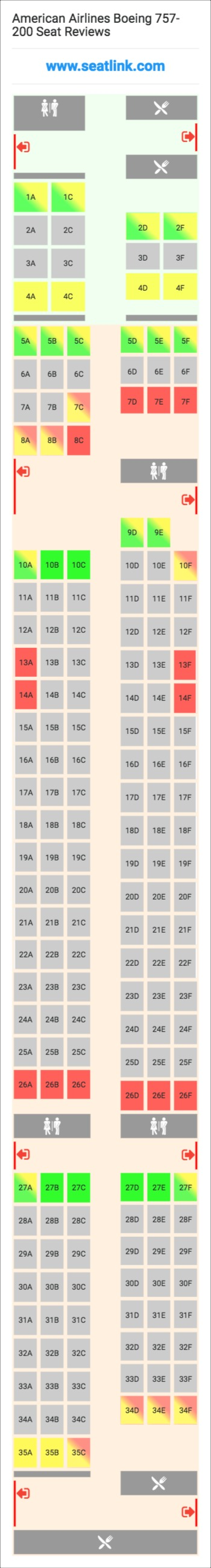 American Airlines Boeing 757-200 (752) Seat Map | Airbus ...