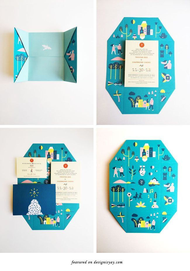 Modern Illustrative Wedding Invitation by Jefferson Cheng | DESIGN IS YAY!