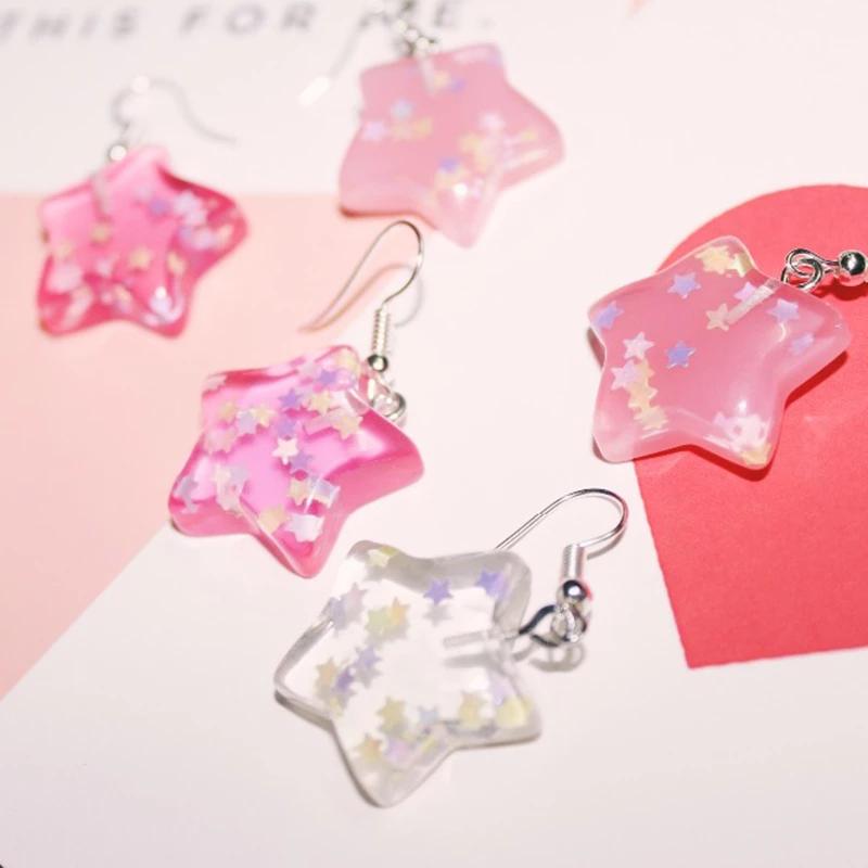Pendientes Kawaii Pink Transparent Stars