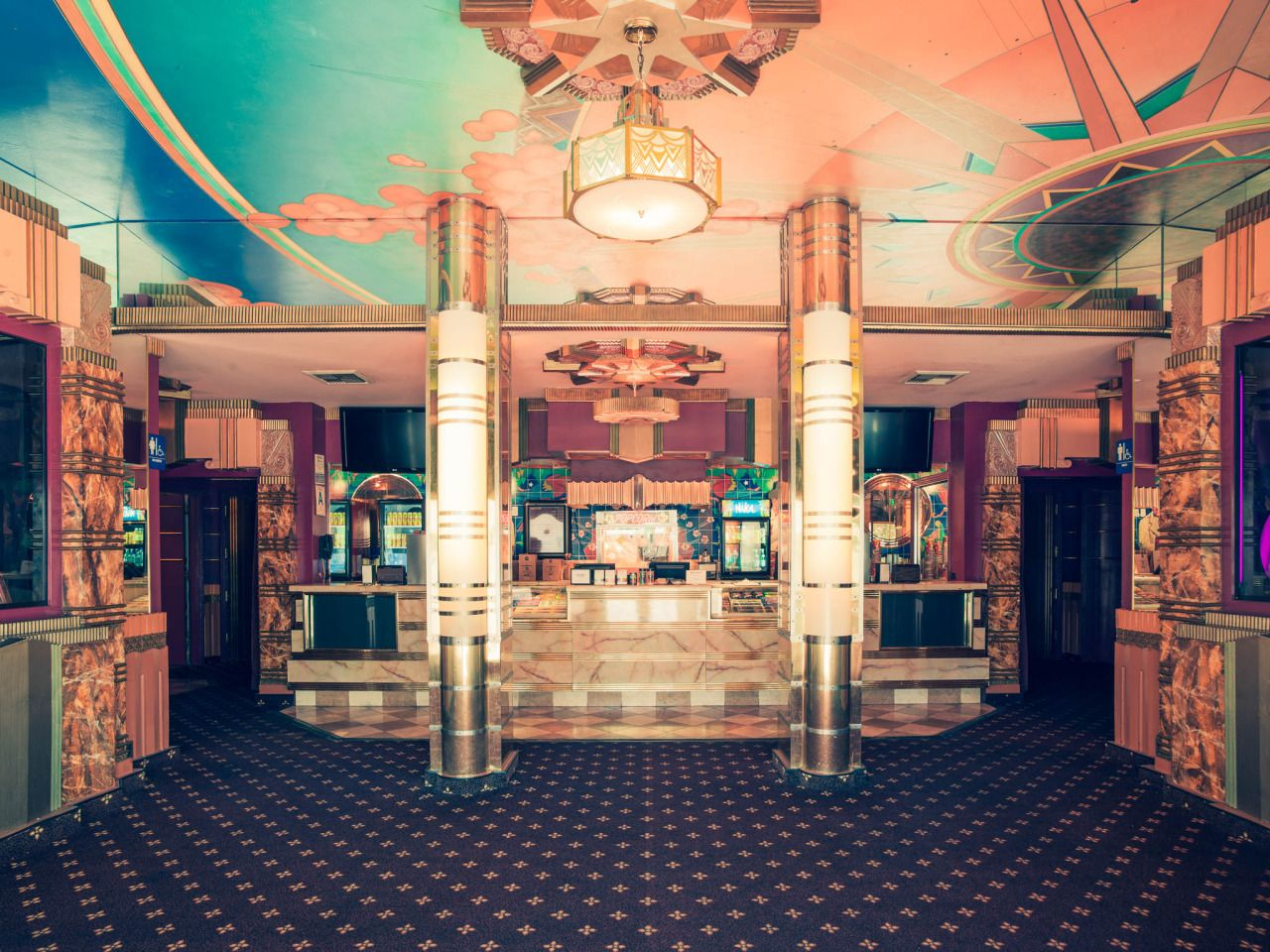 Home interior design the crest theater lobby westwood