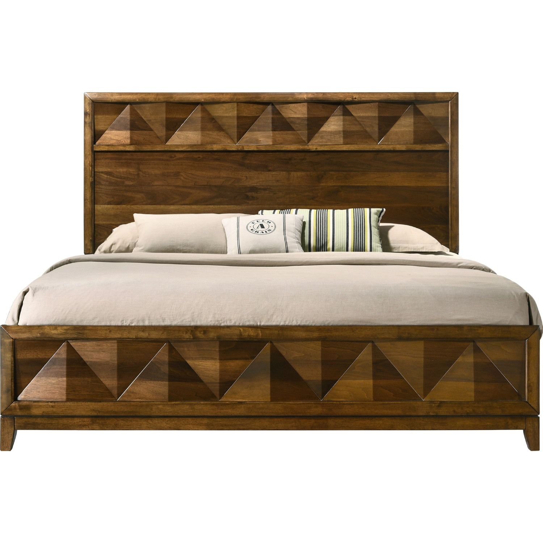 Acme Furniture 27637ek Delilah King Bed Walnut Veneer Bedroom Sets Queen Contemporary Bed Acme Furniture