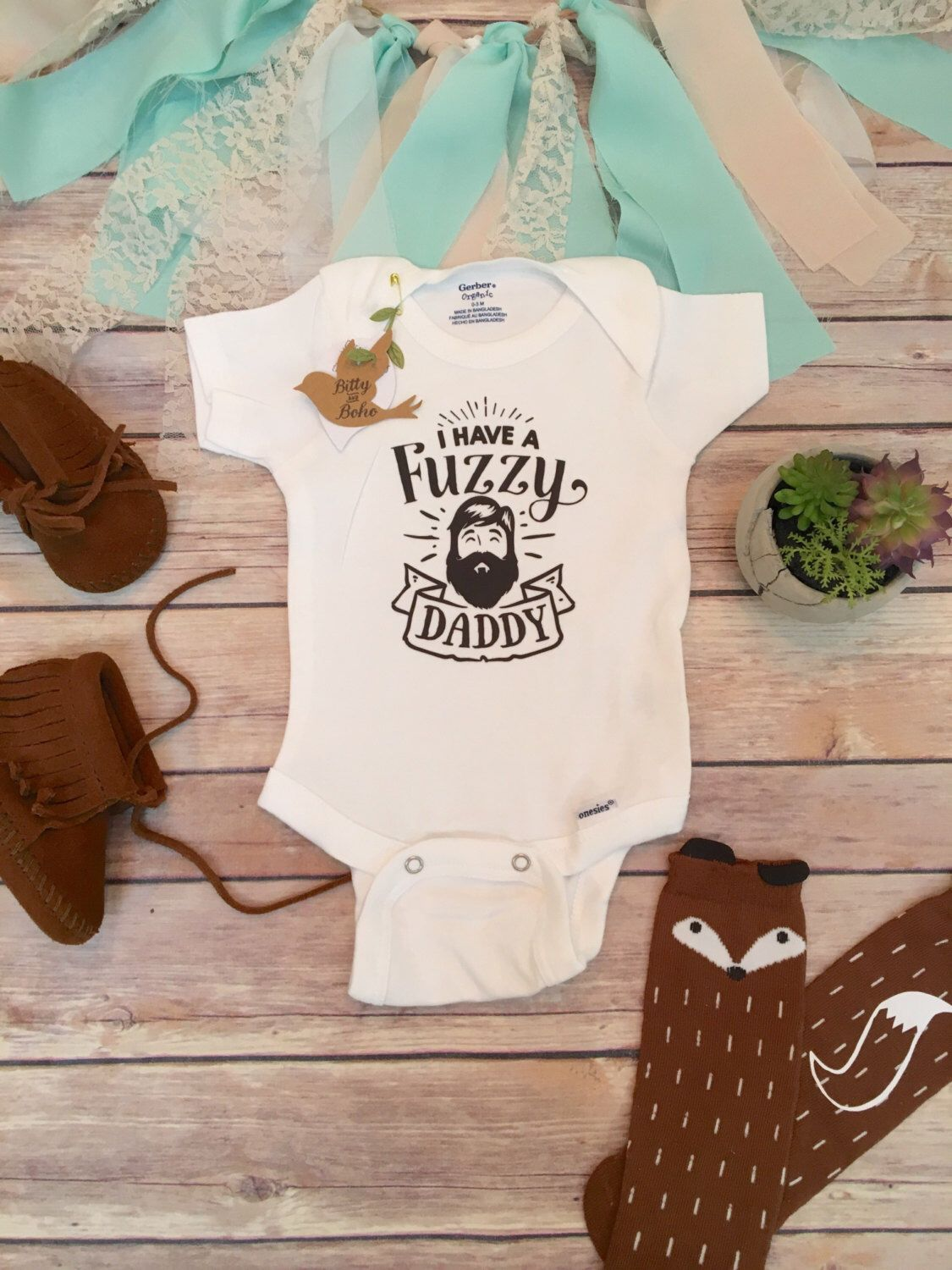 Etsy Bearded Daddy Onesie Fathers Day Gift From Baby Cute Baby