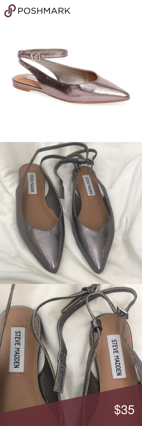8e0cf82c496f4 Steve Madden Metallic Cupid Ankle Strap Flats EUC! Metallic silver color. Steve  Madden Shoes Flats & Loafers
