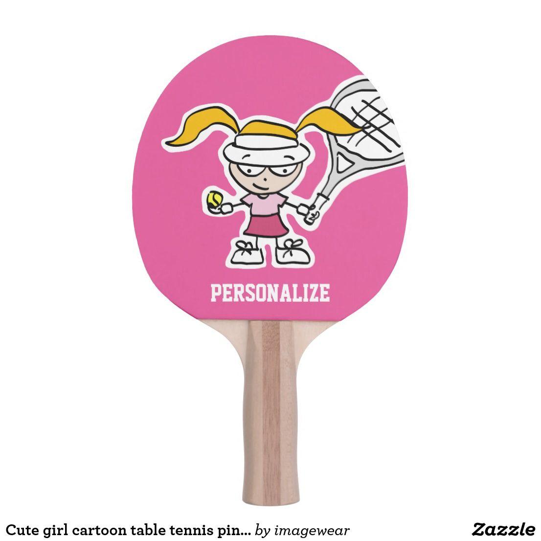 Cute Girl Cartoon Table Tennis Ping Pong Paddle Ping Pong Paddle Toys Games Custom Football Girl Cartoon