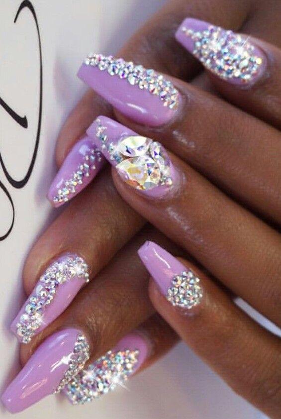 purple rhinestone nails delicacy