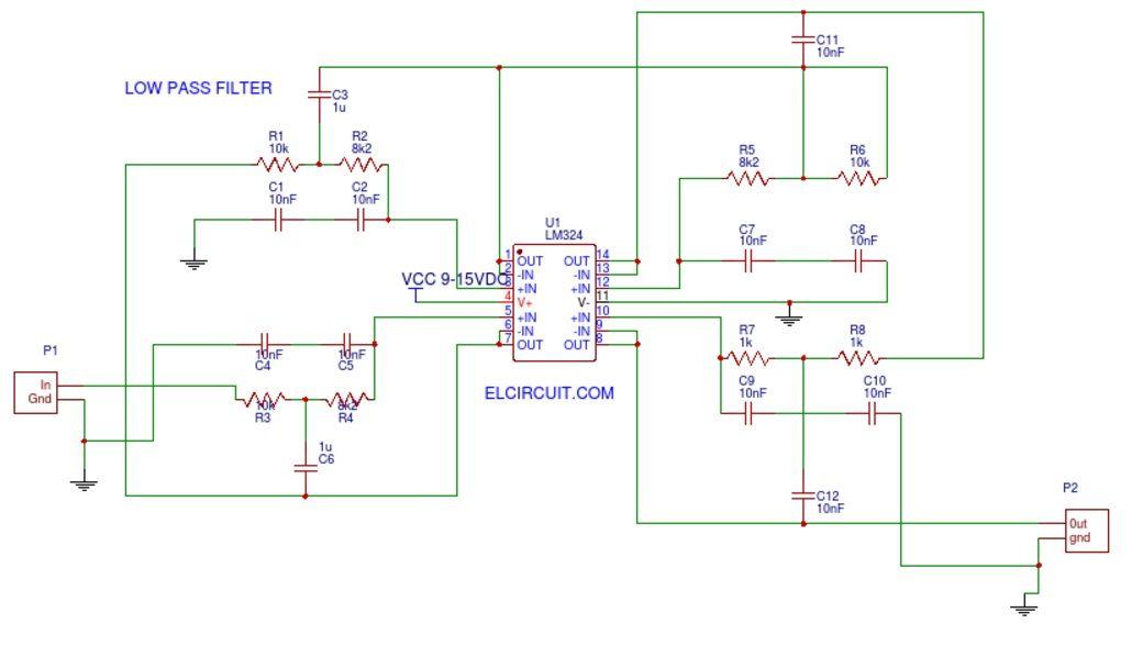Audio Low Pass Filter LM324 | electronik | Pinterest