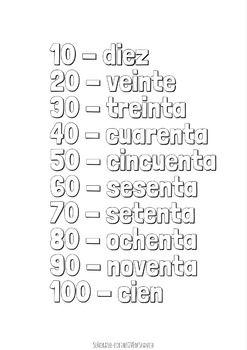 Spanish Numbers Worksheet 1 100
