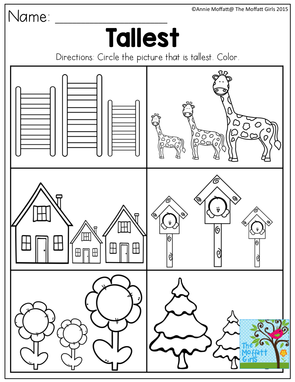 Workbooks living and nonliving worksheets for kindergarten : Shortest to Tallest- Perfect for a gardening unit in Preschool ...