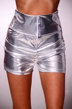 Silver Metallic Lame High Waist Shorts
