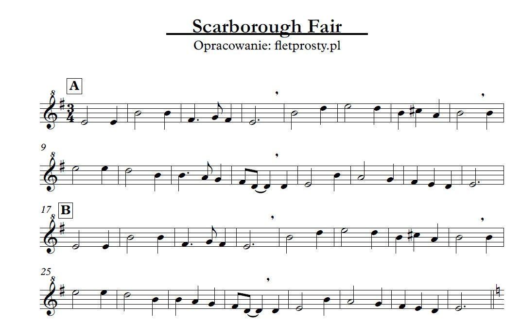 Lyric scarborough fair lyrics and sheet music : Scarborough Fair na trzy flety proste | Recorder: free printable ...