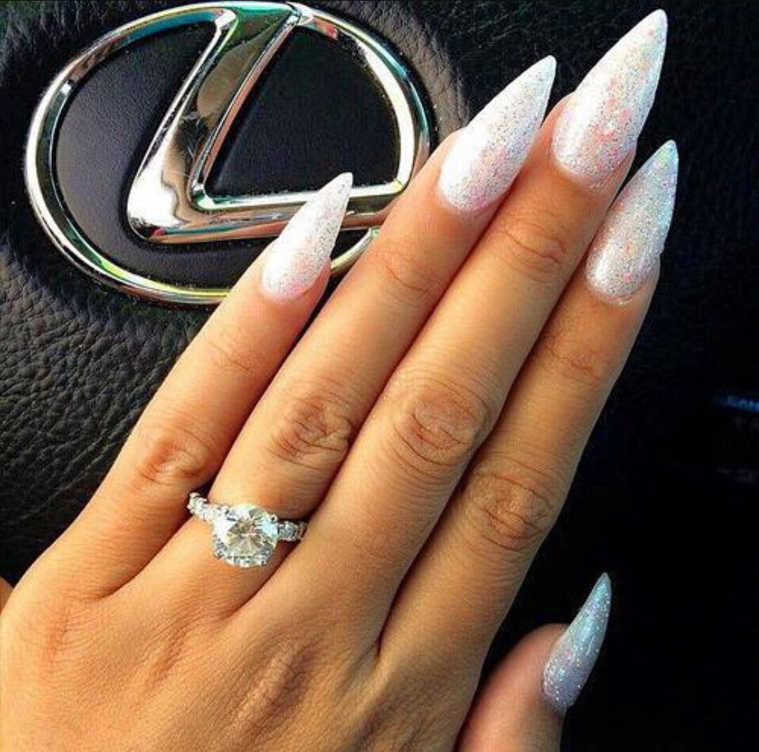 Beautiful White With Silver Glitter Stiletto Nails With Images
