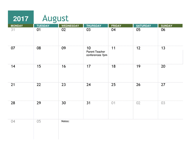Academic Calendar Any Year  Get Organized Tools