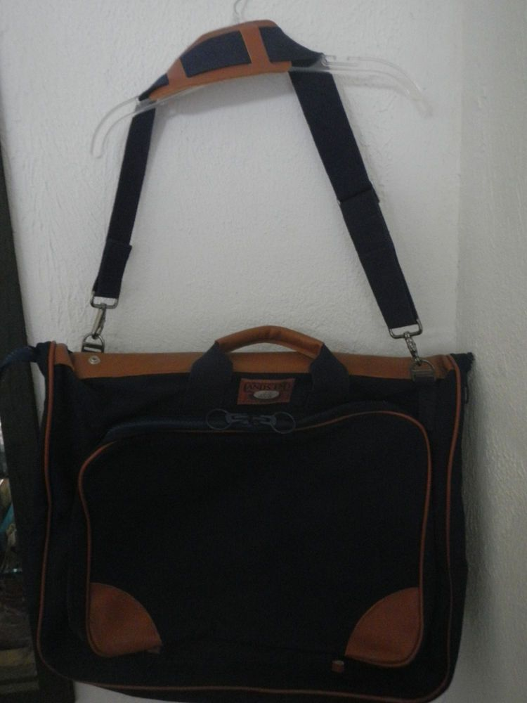 LANDS END GARMENT BAG DELUXE SQUARE RIGGER LUGGAGE NAVY CANVAS LEATHER TRIM  EUC… 2b3f8848911eb