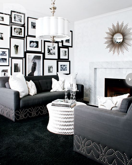 Black And White Living Room With Yellow Accents: Dark Carpet, Monster High
