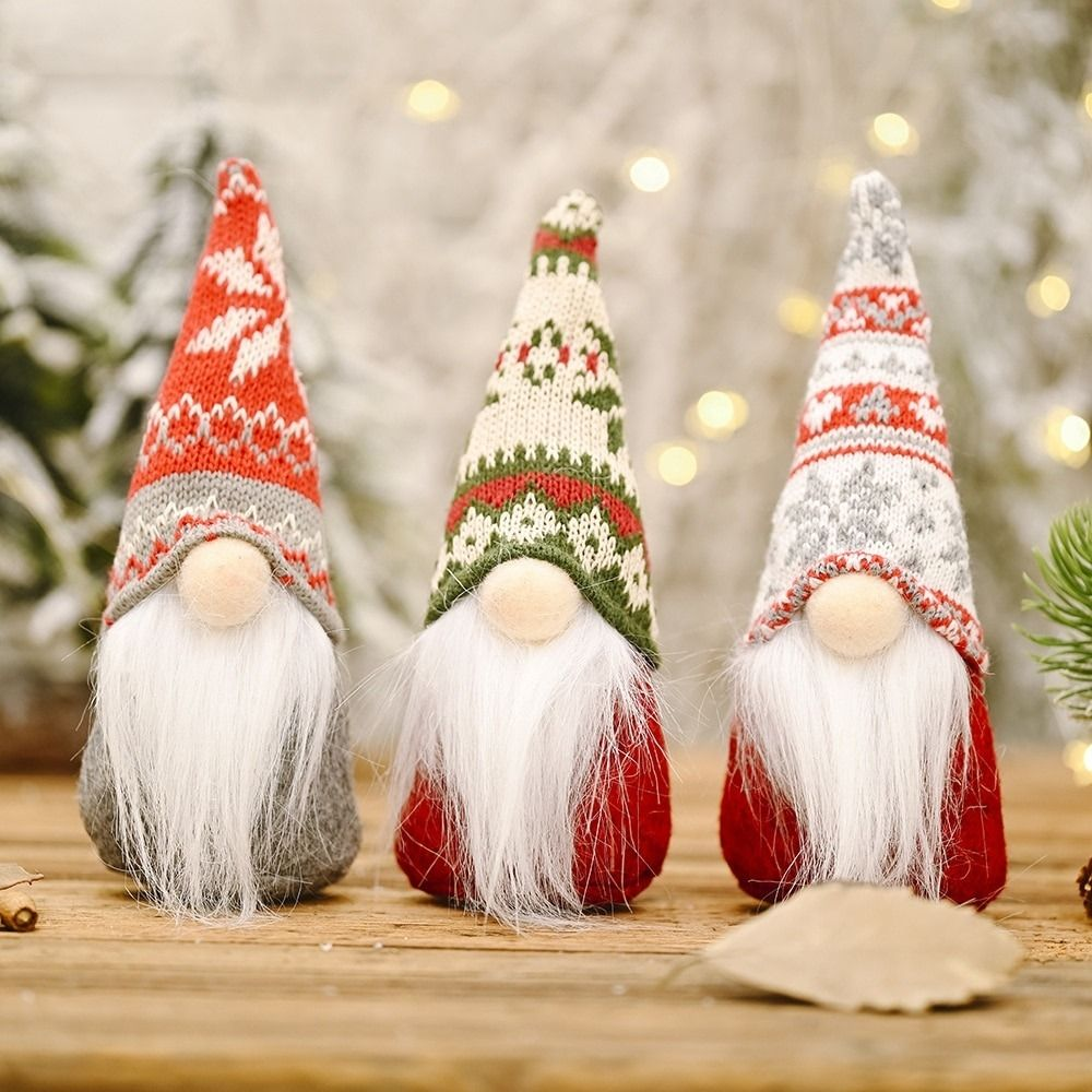 Handmade Swedish Stuffed Toy Gnome Doll Snowflake Knitted Hat Santa Nordic Elf Doll Xmas Tree Orn Christmas Ornaments Gnome Gift Christmas Gnome