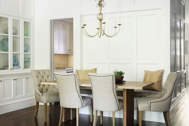Gorgeous Dining Room Boasts A White Built In China Cabinet Facing Best White Dining Room Cabinet Review