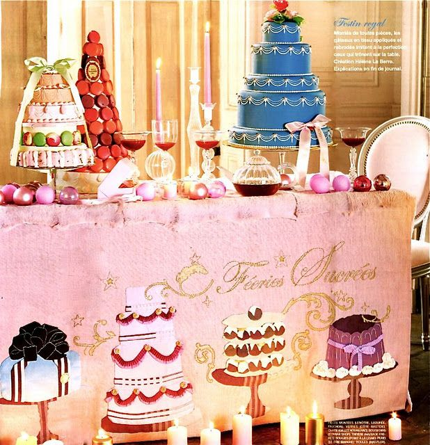 Parisian Christmas Dessert Table - Hand painted linens,ribbons