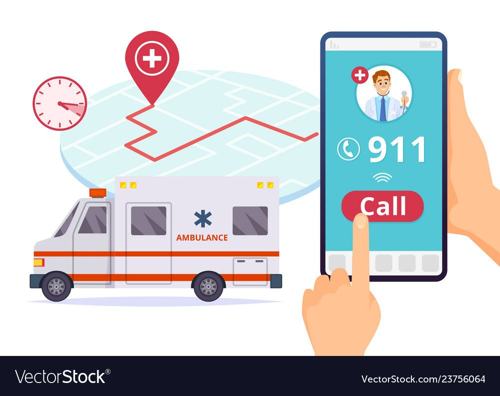Ambulance Service Urgent 911 Hospital Emergency Call Vector Concept Illustration Of Emergency 911 Telephone Assi Emergency Ambulance Emergency Call Ambulance