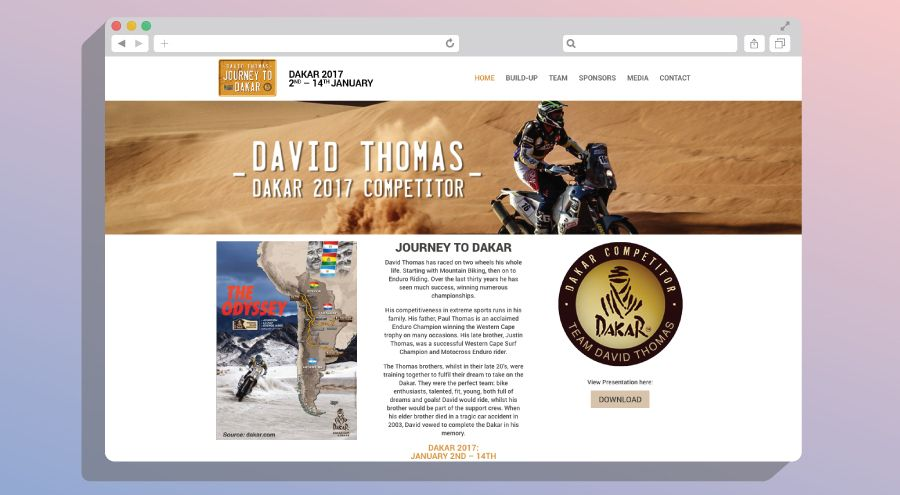 David Thomas Journey to Dakar 2017 | KNOWN DESIGN CO   @JourneyToDakar #dakar #husqvarna #responsive #web #design #websitedesign #webdev