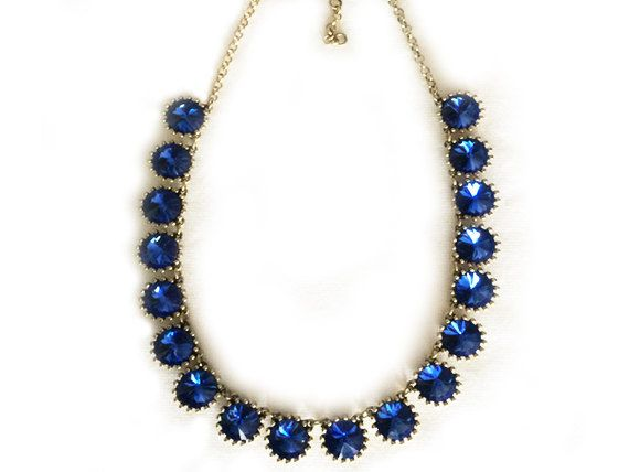 A classic royal dark blue crystal necklace on vintage gold plated chain.  Simple and stunning bridal necklace. Pretty for bridesmaid or everyday wear