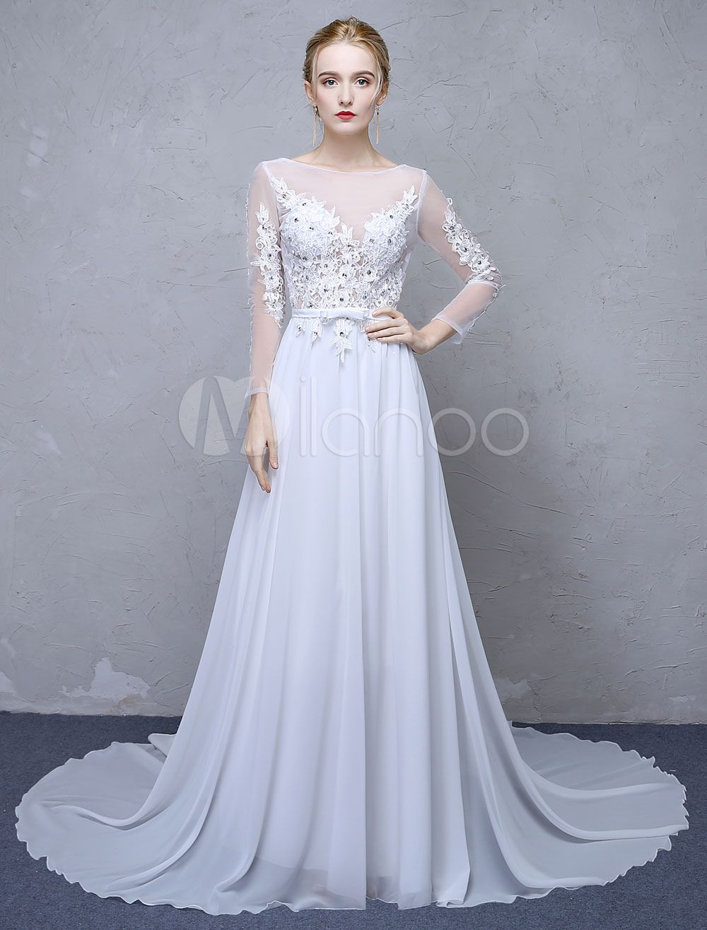 Wedding dress with long train  Summer Wedding Dresses  White Lace Long Sleeve Backless Beaded