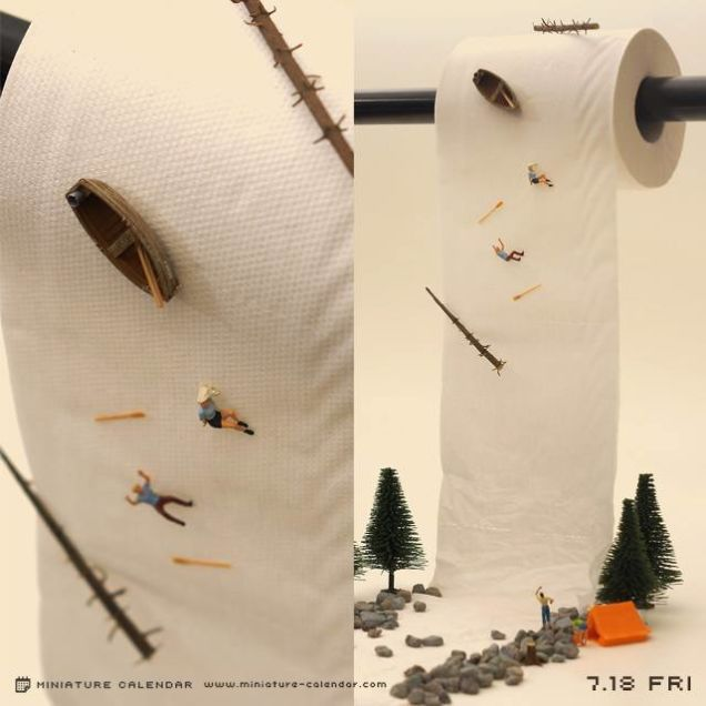 For the past three and a half years, Japanese artist Tanaka Tatsuya's daily to-do list has included creating and photographing a miniature diorama. Part of