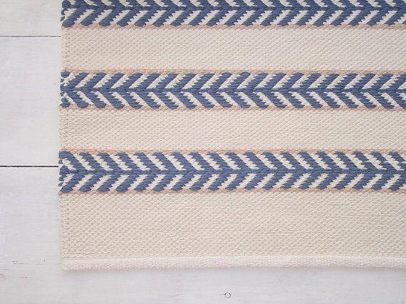 5x8 Area Rug Ivory Blue Beige Cotton Scandinavian By Leedas