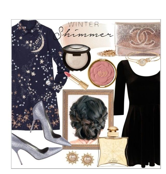 """""""Holiday Sparkle With The RealReal: Contest Entry"""" by cadetartemis ❤ liked on Polyvore featuring Manolo Blahnik, Valentino, Chanel, By Terry, Becca, Milani, Hermès, Carolee, Dolce&Gabbana and Aéropostale"""
