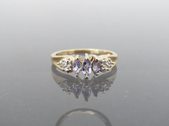 Vintage 10K Solid Yellow Gold Natural Iolite & by wandajewelry2013