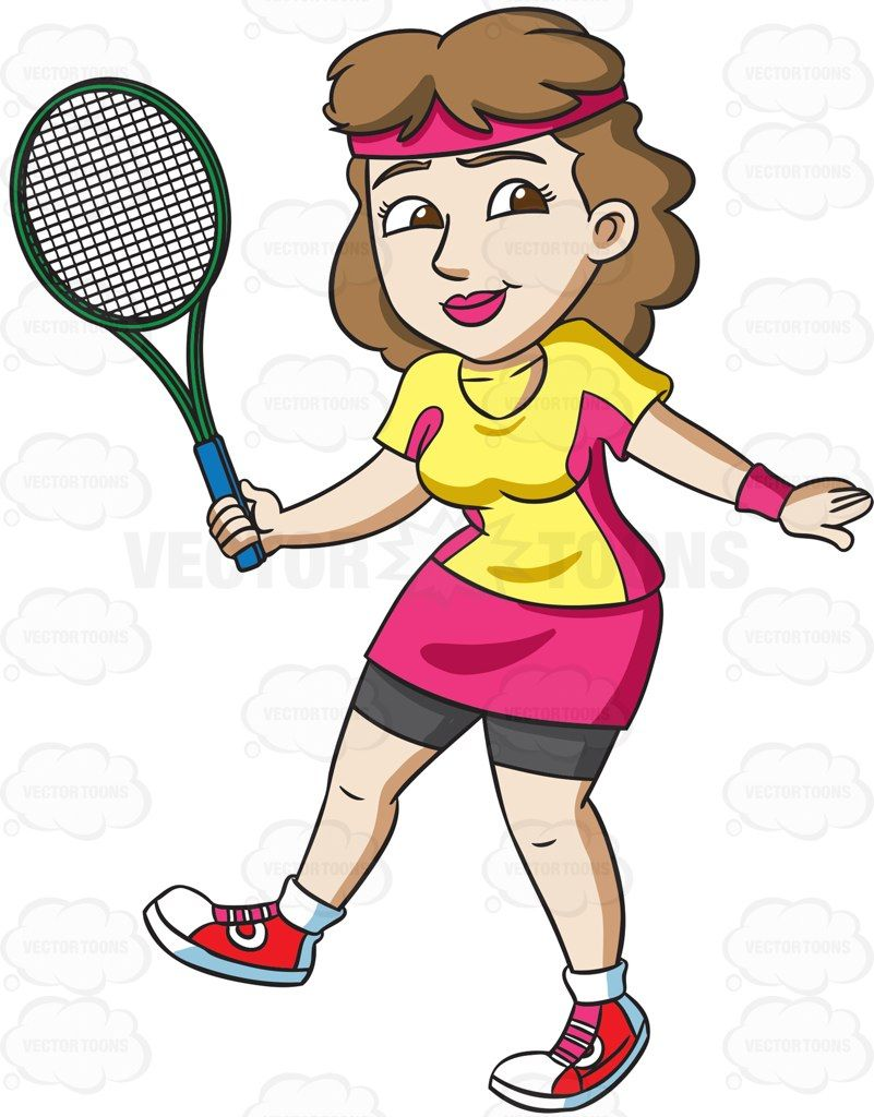 a female tennis player practices her swing tennis players rh pinterest com clipart tennis cartoon image cartoon tennis shoes clip art