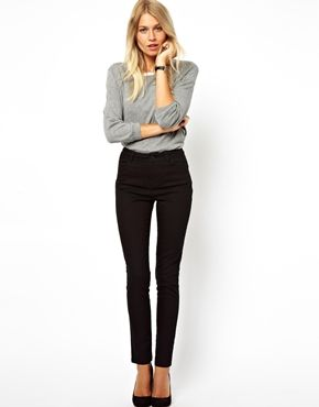 Image 1 of ASOS High Waist Pants in Cotton Twill