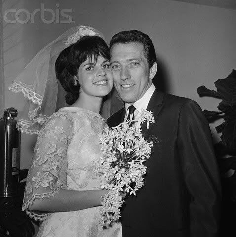 Andy Williams and Claudine Longet 15 December 1961 in Los Angeles - divorced in 1975 after a long separation. Andy came to her aid only 1 yr later when she was accused of killing her professional skier boyfriend, Spider Sabich, in Aspen. She claimed it was an accidental shooting. She went to jail and he had custody of their 3 children.