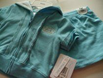Absorba Baby Clothes Girl Turquoise / Aqua T-Shirt Hoodie & Skort 3PC set 24M