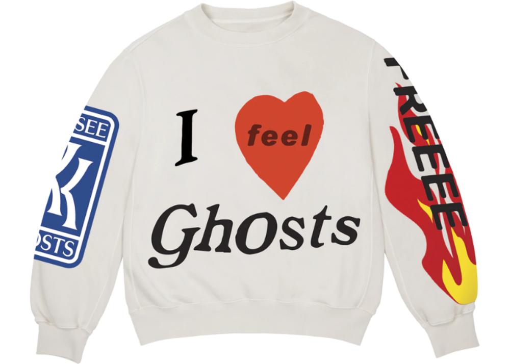 Kids See Ghosts Freeee Crewneck Sweatshirt Ghost In 2020 Sweatshirts Sweatshirt Fashion Crew Neck Sweatshirt