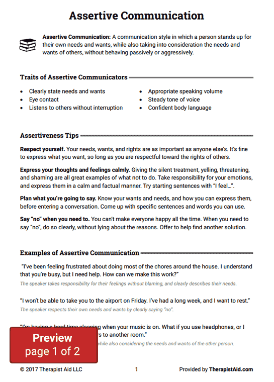Assertive Communication (Worksheet | Counseling | Assertive