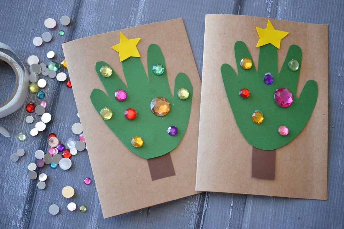 Handprint christmas tree cards kid craft handprint christmas