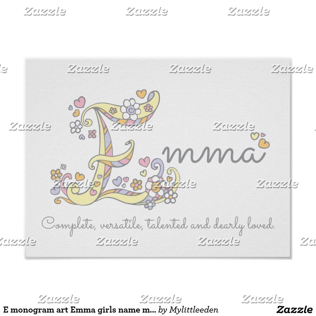 E monogram art emma girls name meaning poster ideal for a e monogram art emma girls name meaning poster ideal for a christening baby shower negle Images