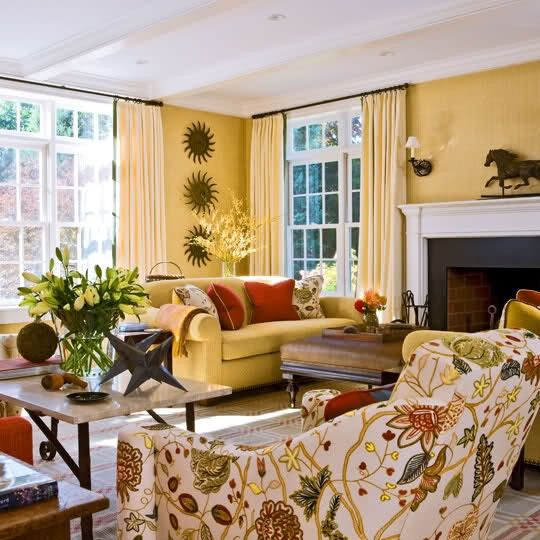 Love The Colors And Especially The Fabric On The Chair Closest To Captivating Yellow Living Room Chairs Decorating Inspiration