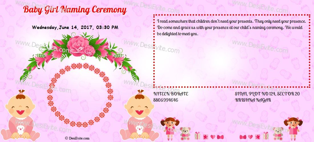 Create And Download A Indian Naming Ceremony Namakaran