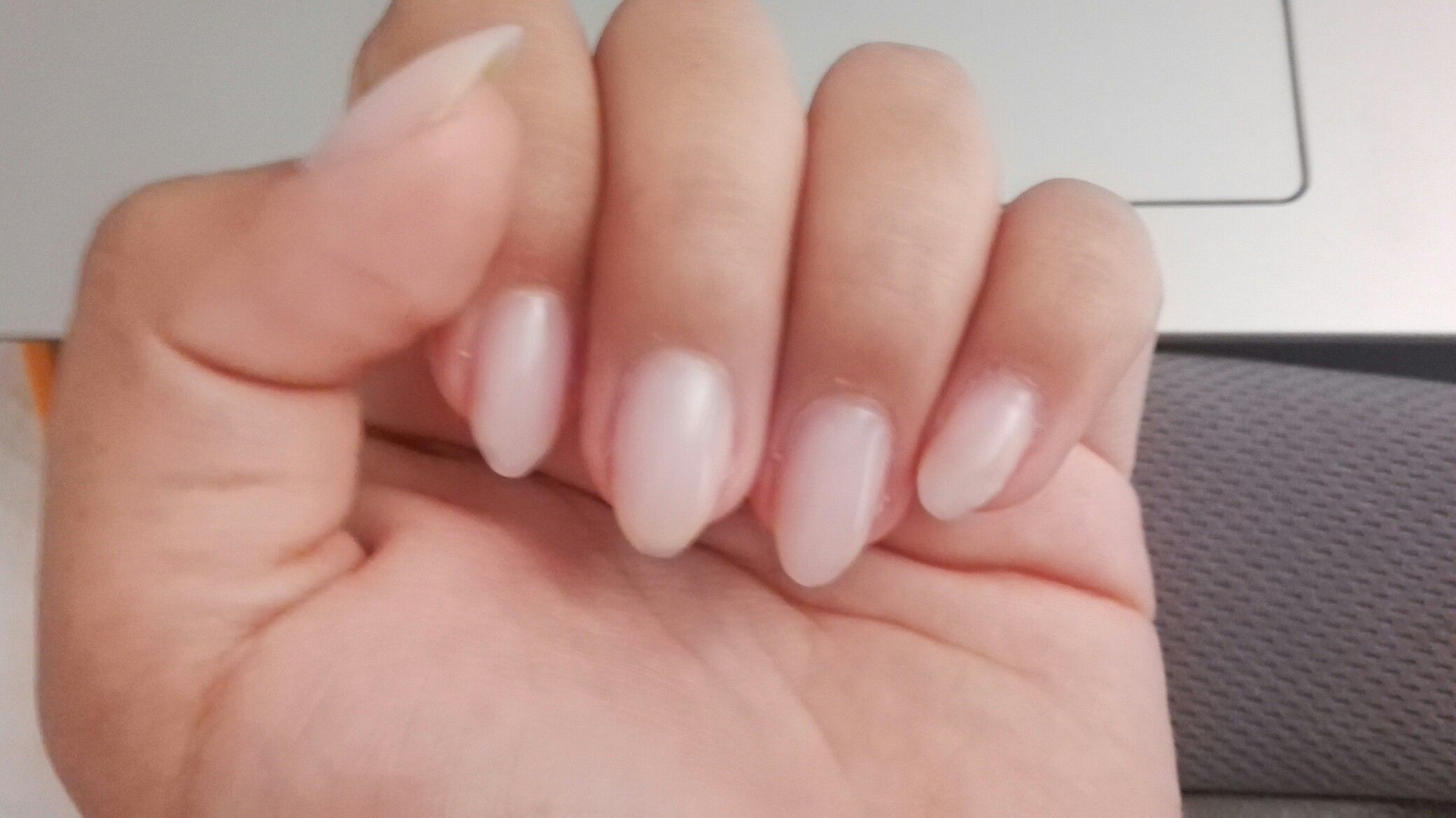 Clear Off White Almond Short Acrylic Nails Short Acrylic Nails Clear Acrylic Nails Trendy Nails