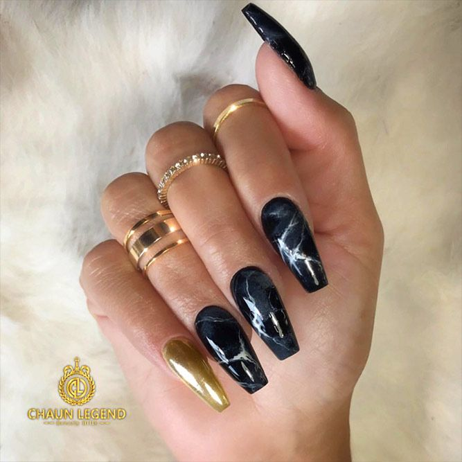 18 Trendy Black Nails Designs For Dark Colors With Marble Picture