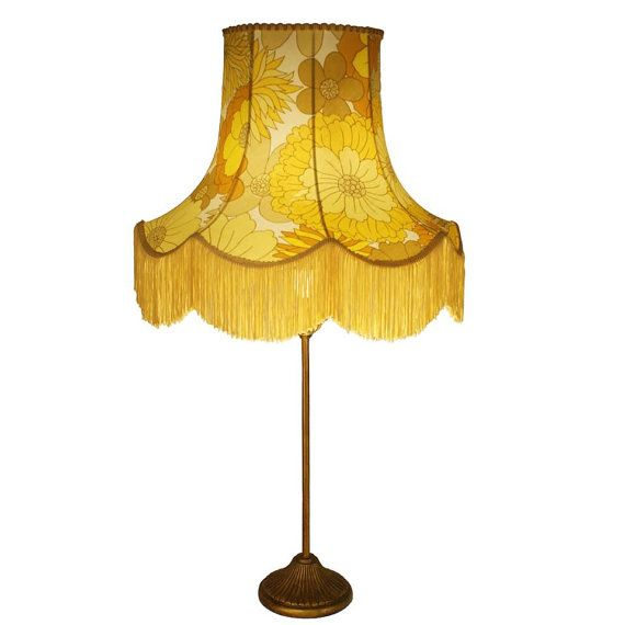 Vintage Lampshade Floop Lamp Table Lamp Yellow Floral Lampshade Lamp Shade  Light Shade Ceiling Pendant Floor Lamp Design Pattern Retro