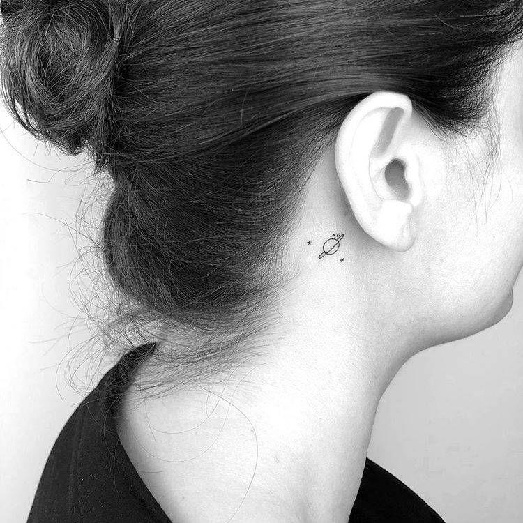 Saturn Tattoo Behind The Right Ear Saturn Tattoo Behind Ear