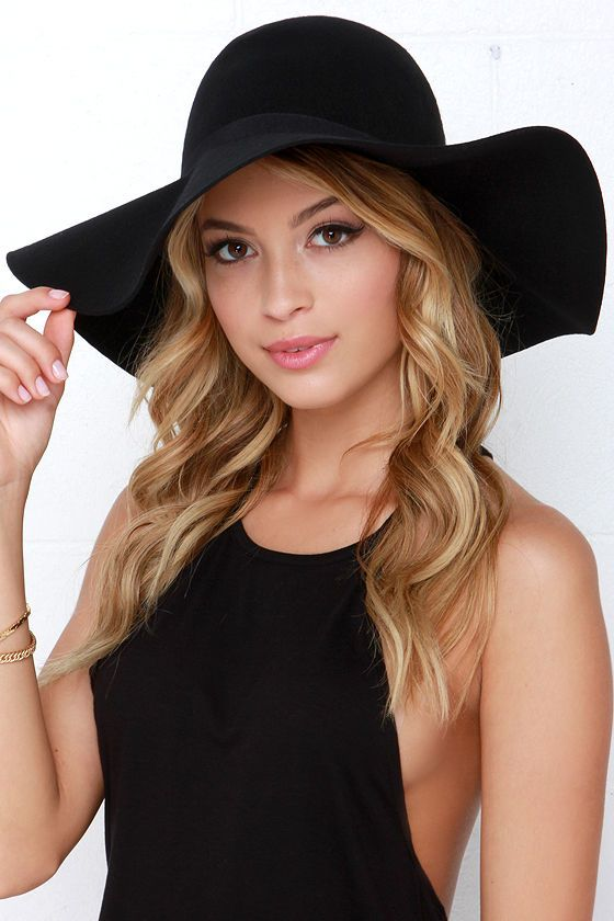 2dc7aa1adf6 ... when fashion seekers stay hot on your trail when you don the Carmen Sun  Diego Black Hat! Soft felted wool shapes this chic floppy hat with wide brim  and ...