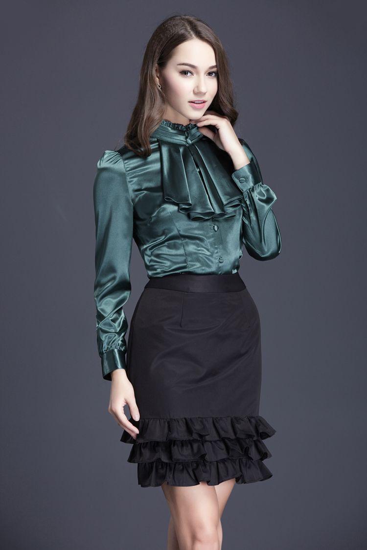 Ruffled satin blouse … | Pretty blouses, Beautiful blouses, Satin ...