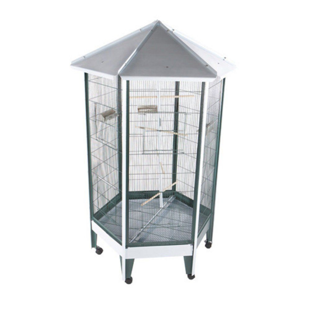 A and E Cage Co. Pitched Roof Hexagon Aviary - The Pitched Roof ...